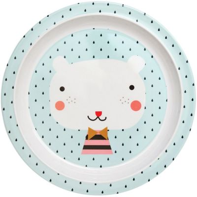 Assiette plate en mélamine Ours bleu  par Petit Monkey