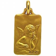 Médaille rectangulaire Ange de Raphaël 18 mm (or jaune 750°)