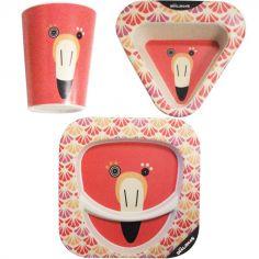 Coffret repas en bambou Flamingos le flamant rose (3 pièces)