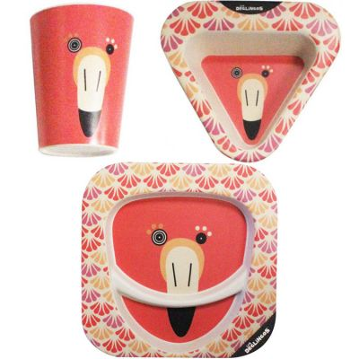 Coffret repas en bambou Flamingos le flamant rose (3 pièces)  par Les Déglingos