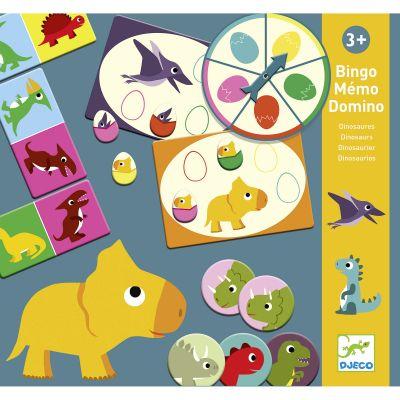 Mallette de jeux Bingo Mémo Domino Dinosaures Djeco