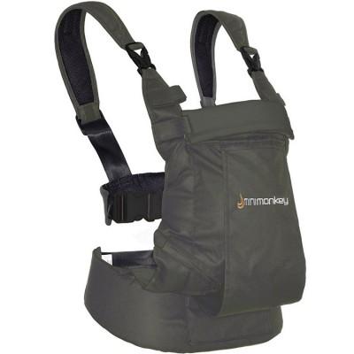 Porte bébé ventral et dorsal Dynamic en coton gris  par Minimonkey