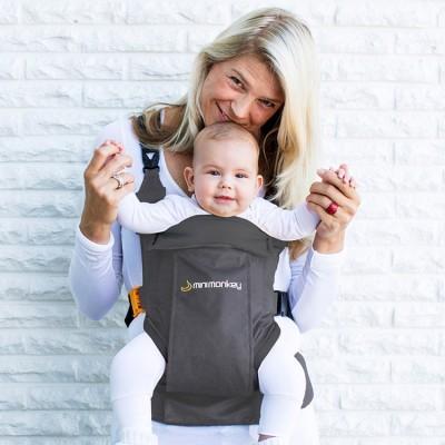 Porte Bébé Ventral Et Dorsal Dynamic En Coton Gris - Porte bébé ventral et dorsal