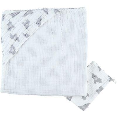 Cape de bain + gant en mousseline de coton Eléphant gris (75 x 75 cm)  par Noukie's