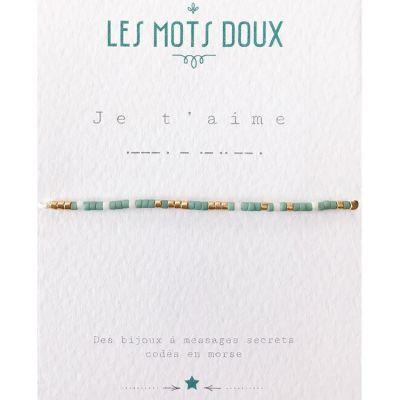 e0aceeb5d9513 Bracelet message en morse Je t'aime (perles en pâte de