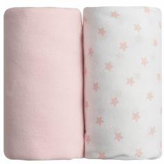 Lot de 2 draps housses étoile rose (60 x 120 cm)