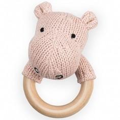 Hochet anneau en bois hippopotame pêche