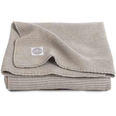 couverture b b en coton basic knit taupe clair 75 x 100. Black Bedroom Furniture Sets. Home Design Ideas