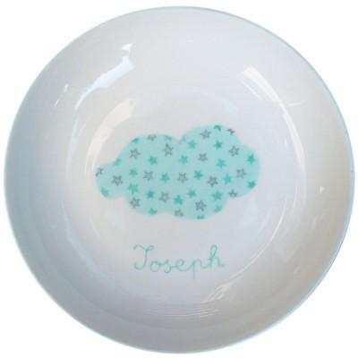 Assiette creuse Nuage turquoise personnalisable  par Laetitia Socirat