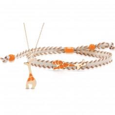 Duo maman enfant Primegioie collier et bracelet Girafe (or jaune 375°)