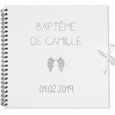 Album photo baptême personnalisable blanc et argent (30 x 30 cm)