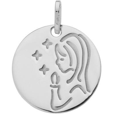 Médaille ronde Vierge à la bougie et étoiles (or blanc 750°)  par Berceau magique bijoux