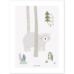 Affiche ours gris In the woods (30 x 40 cm)