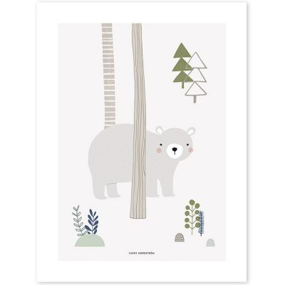 Affiche ours gris In the woods (30 x 40 cm)  par Lilipinso