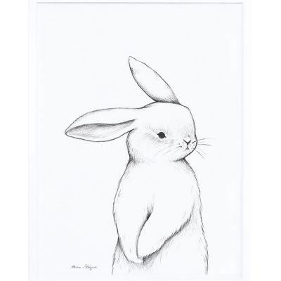 Affiche encadrée lapin de face (30 x 40 cm)  par Lilipinso