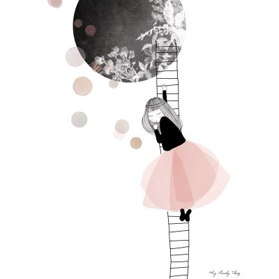 Affiche lune The moon by My Lovely Thing (30 x 40 cm)  par Lilipinso