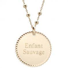 Collier enfant médaille perlée et chaîne perlée personnalisable (plaqué or)
