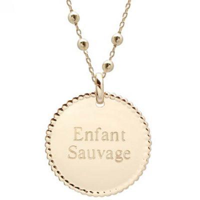 Collier enfant médaille perlée et chaîne perlée personnalisable (plaqué or)  par Petits trésors
