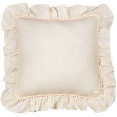 Coussin carré à volants vanille Boho (45 x 45 cm)