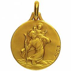 Médaille ronde Saint Christophe 18 mm (or jaune 750°)