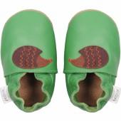 Chaussons en cuir Soft soles hérisson vert (9-15 mois) - Bobux