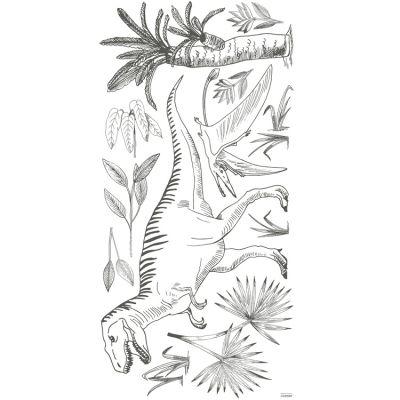 Grand sticker dinosaures et palmiers (130 x 64 cm)  par Lilipinso