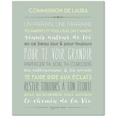 Tableau religieux Jolie cérémonie fond vert céladon personnalisable (33 x 41 cm)  par Mes Mots Déco