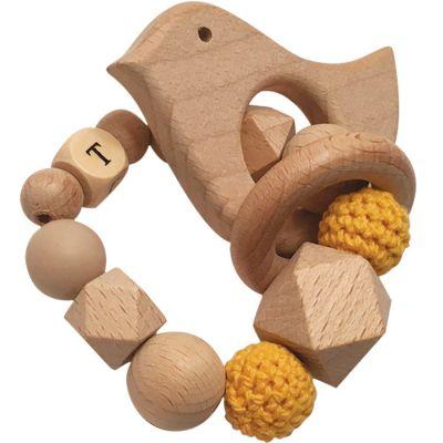 Anneau de dentition en bois Oiseau moutarde et beige (personnalisable)  par Tata Lucette