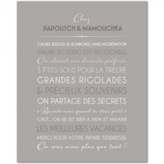 Tableau Grands-parents gris galet personnalisable (33 x 41 cm)