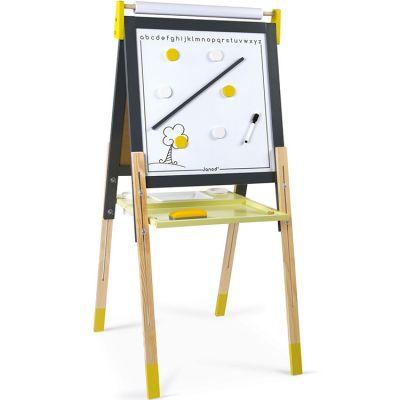Tableau à dessin réglable gris et jaune Janod