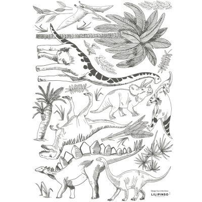 Stickers dinosaures et végétaux (29,7 x 42 cm)  par Lilipinso