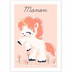 Affiche A4 La licorne magique (personnalisable)