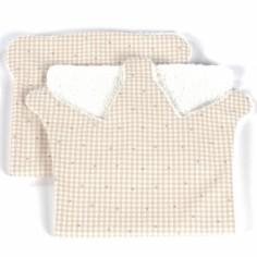 Lot de 2  bavoirs protection d'épaule Petite Etoile couronne vichy beige