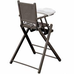 Chaise haute pliante en bois massif laqué gris (personnalisable)