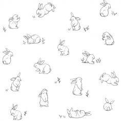 Papier peint motif lapins éparses (10 m)