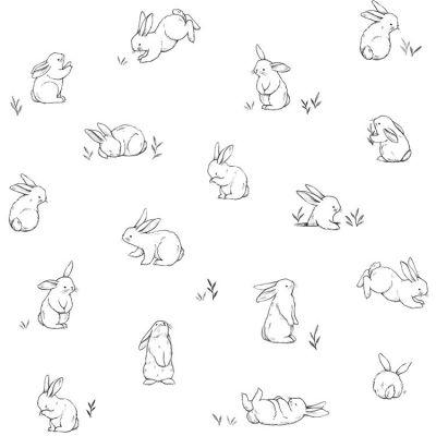 Papier peint motif lapins éparses (10 m)  par Lilipinso