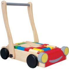 Chariot de marche et blocs de construction en bois