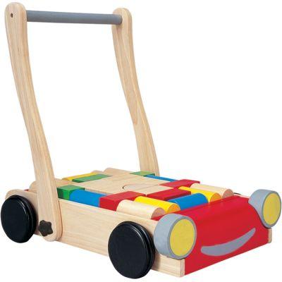 Chariot de marche et blocs de construction en bois  par Plan Toys