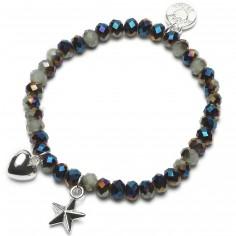 Bracelet Charm perles multicolores charm duo étoile et coeur