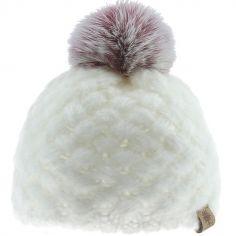Bonnet en tricot à pompon écru (12-18 mois)