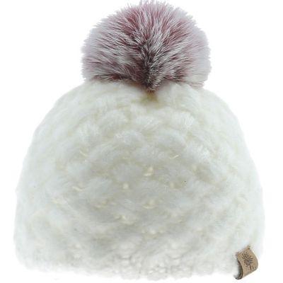 Bonnet en tricot à pompon écru (12-18 mois)  par Bedford Road