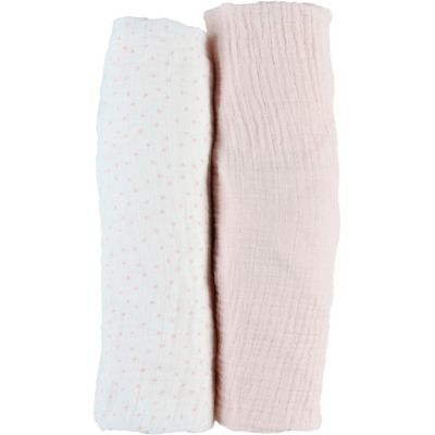 Lot de 2 draps housses en mousseline de coton rose clair (60 x 120 cm)  par Noukie's