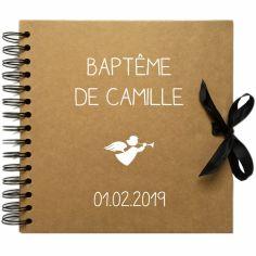 Album photo baptême personnalisable kraft et blanc (20 x 20 cm)