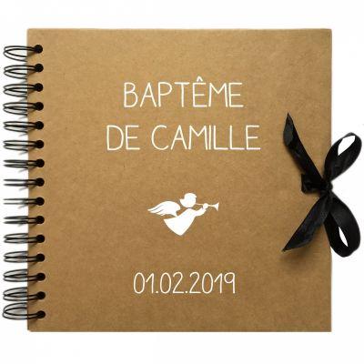 Album photo baptême personnalisable kraft et blanc (20 x 20 cm) Les Griottes