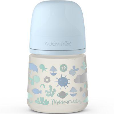 Biberon avec tétine symétrique SX PRO S Memories bleu (150 ml)  par Suavinex