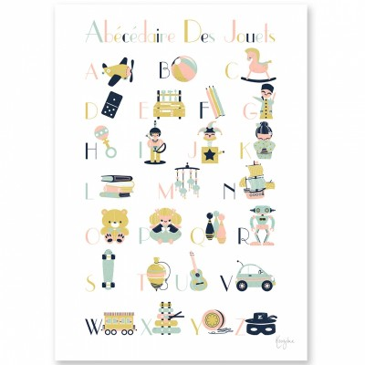 Affiche A4 abécédaire des jouets  par Kanzilue