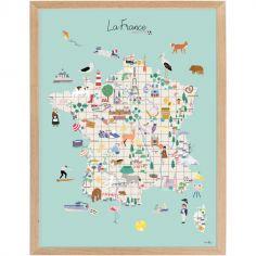 Affiche encadrée Carte de France (30 x 40 cm)