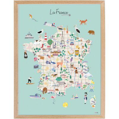 Affiche encadrée Carte de France (30 x 40 cm)  par Mimi'lou
