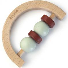Hochet demi-cercle en bois mint et rouille