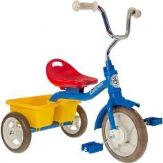 Tricycle Transporter avec panier arrière bleu, rouge et jaune